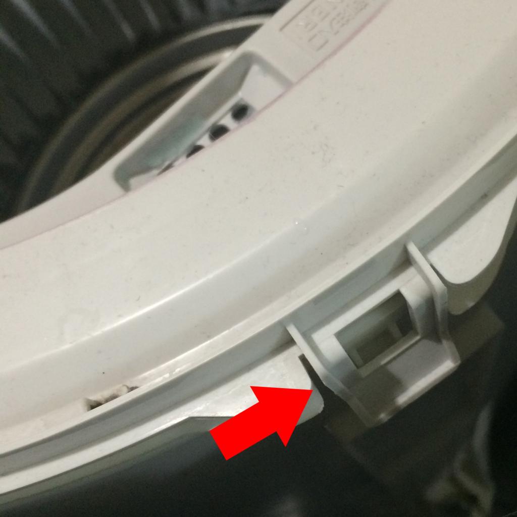 洗濯機の分解ツメの部分
