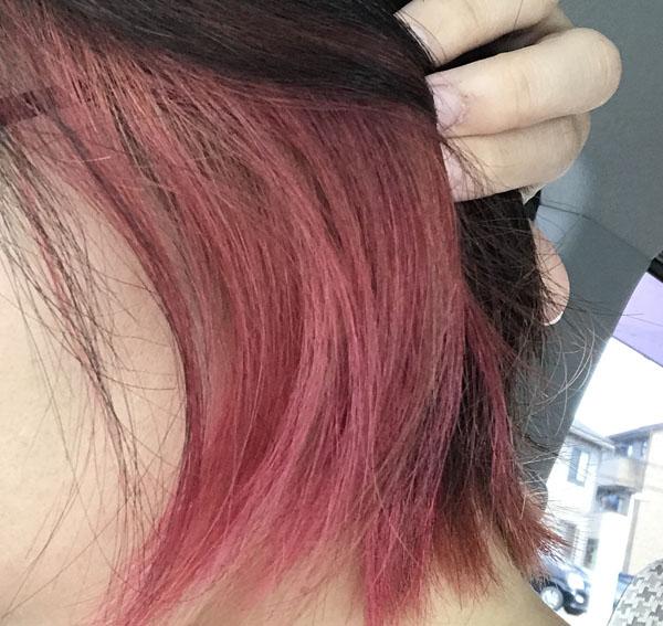 インナーカラーピンク色落ち