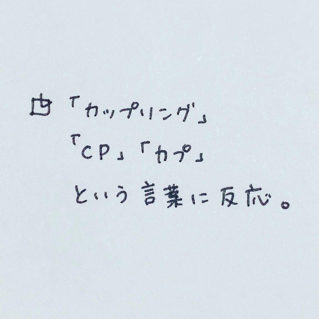 「カップリング」「CP」「カプ」という言葉に反応